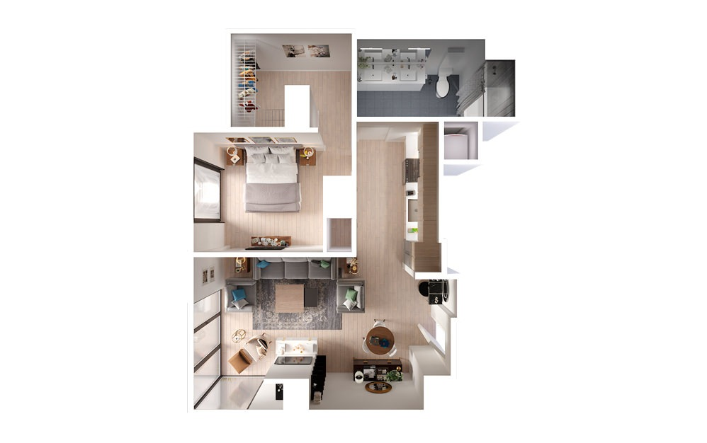 apartments in downtown Los Angeles Plan 1 1 Bed 1 Bath Floorplan