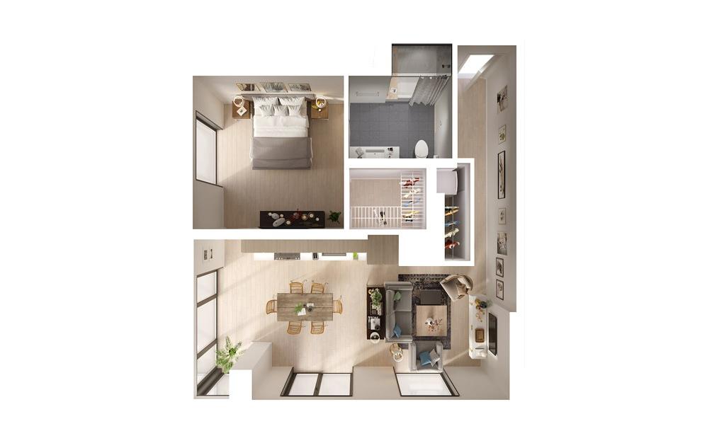apartments in downtown Los Angeles Plan 2 1 Bed 1 Bath Floorplan