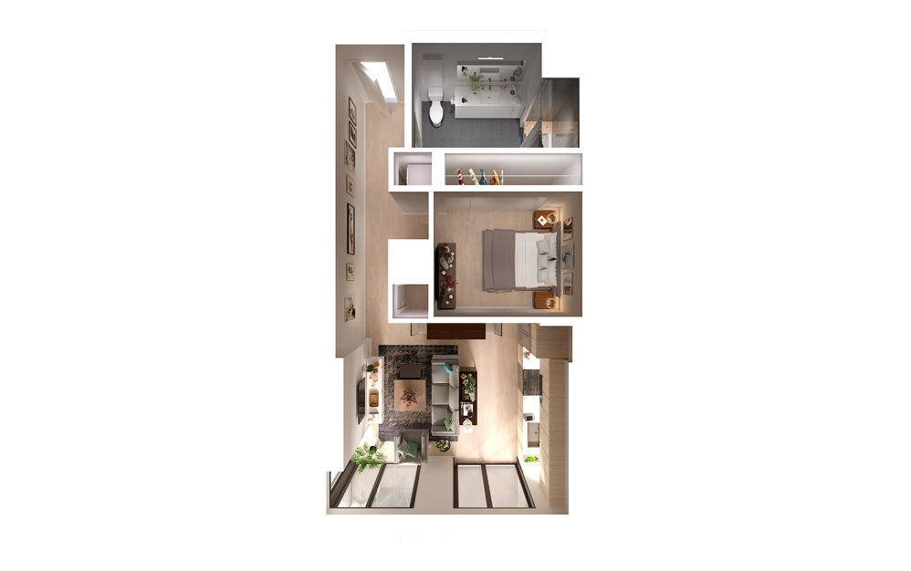 apartments in downtown Los Angeles Plan 0304 1 Bed 1 Bath Floorplan