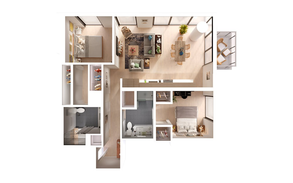 apartments in downtown Los Angeles PLAN 05 08 2 Bed 2 Bath Floorplan