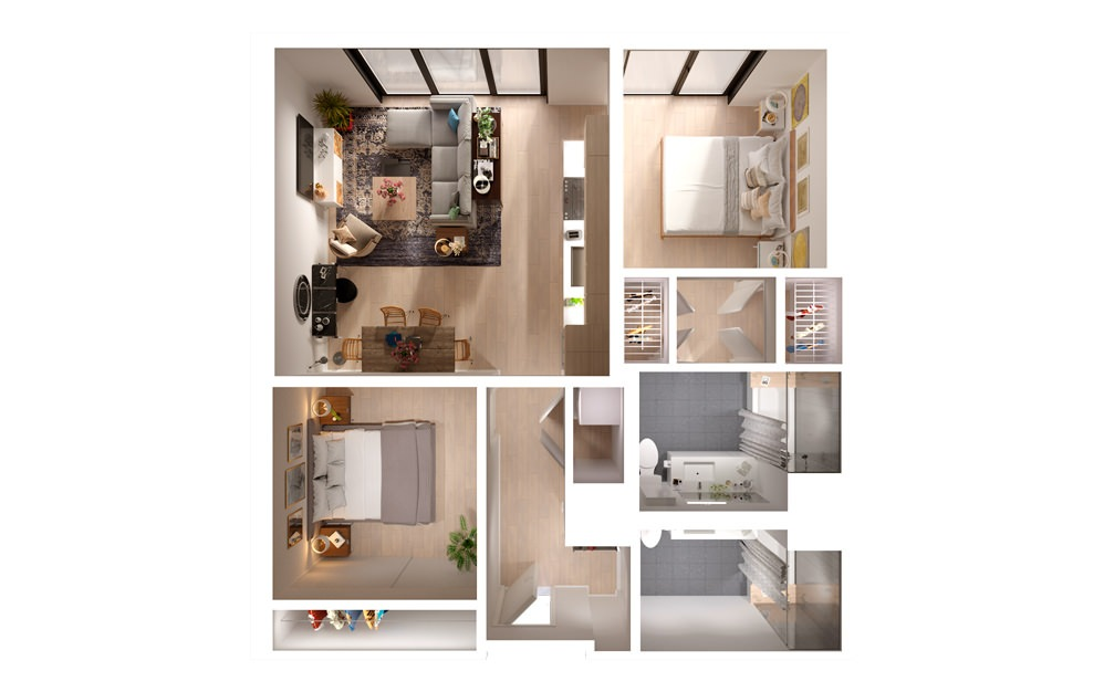 apartments in downtown Los Angeles PLAN 09 10 2 Bed 2 Bath Floorplan