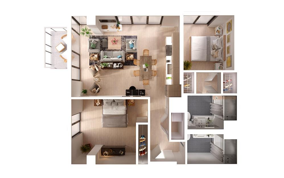 B3b 2 Bed 2 Bath Floorplan
