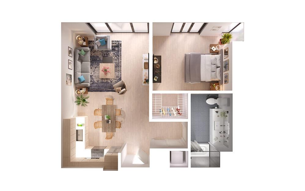 Plan 11 1 Bed 1 Bath Floorplan