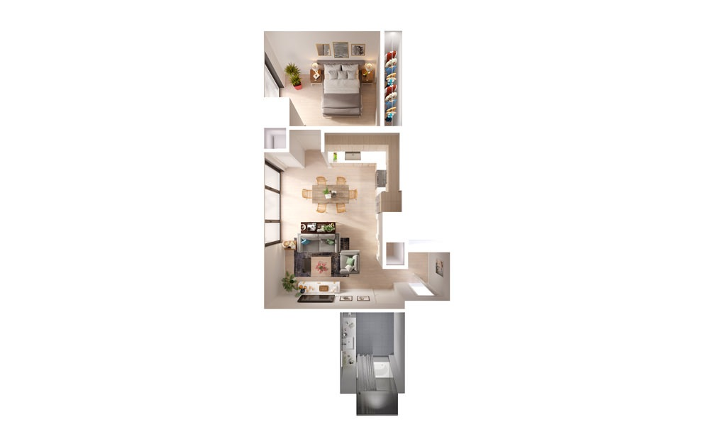 Plan 12 1 Bed 1 Bath Floorplan