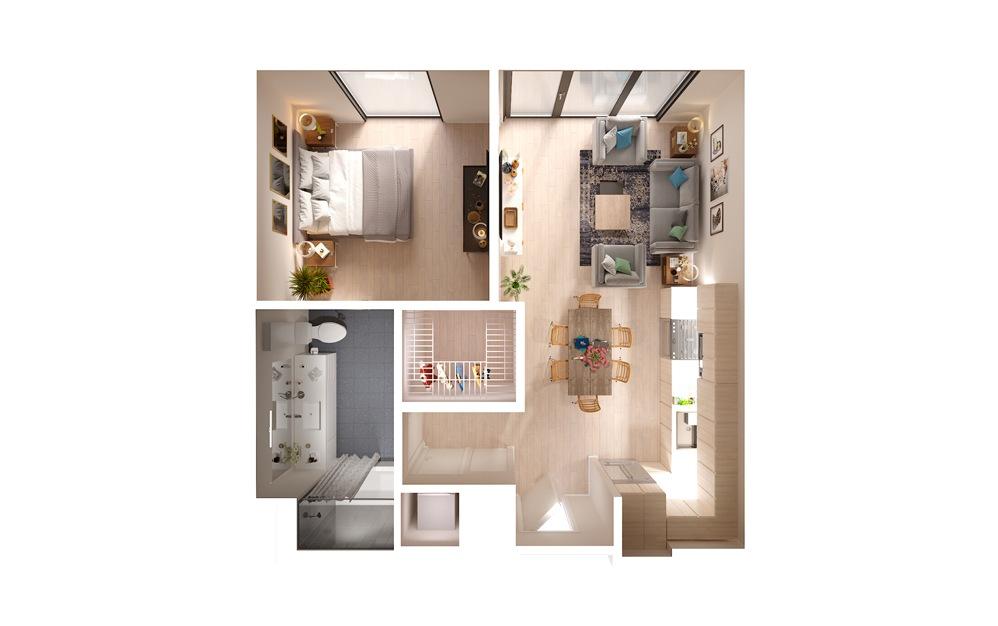 PLAN 13 15 16 1 Bed 1 Bath Floorplan