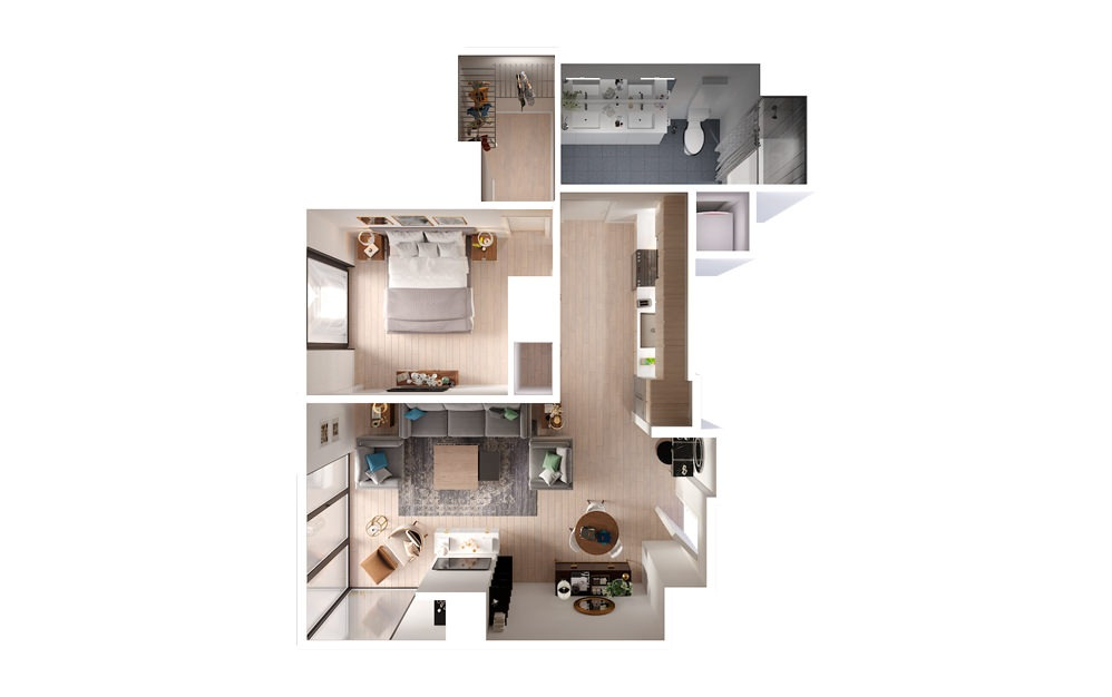 PLAN PH01 2 Bed 3 Bath Floorplan